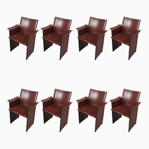 Vintage Italian Brown Leather Model Korium Dining Chairs by Tito Agnoli for Matteo Grassi, 1980s, Set of 8