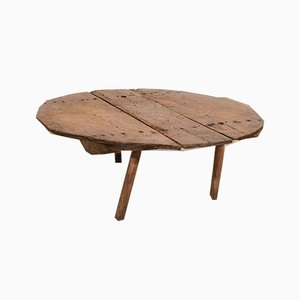 Table Basse Ronde Antique en Chêne