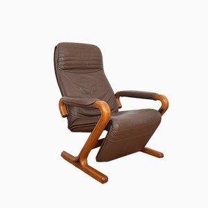 Mid-Century Danish Armchair with Footstool, 1970s