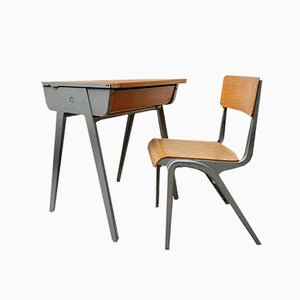 Vintage Childrens Desk and Chair by James Leonard for Esavian, 1950s