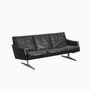 Mid-Century Scandinavian Black Leather Sofa, 1960s