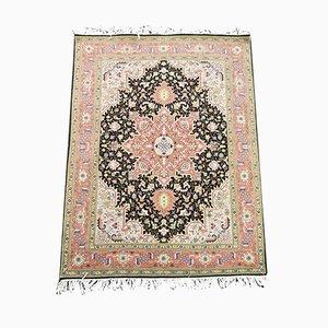 Alfombra de Oriente Medio floral vintage de lana y seda, años 90