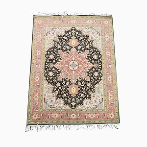 Vintage Middle Eastern Floral Woolen and Silk Carpet, 1990s