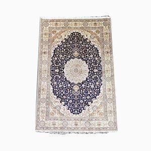 Indischer Vintage Seidenteppich mit floralem Muster, 1990er