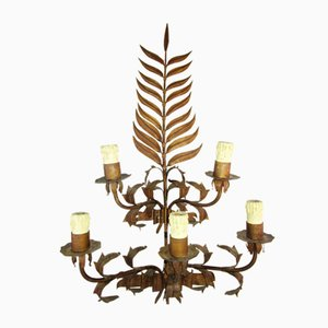 Large Mid-Century Forged Iron Sconce, 1950s