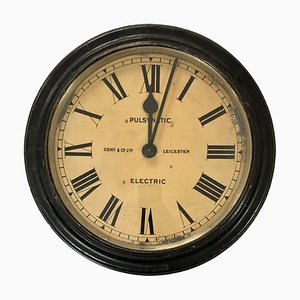 Vintage Ebonized Factory Wall Clock from Gent & Co. Ltd Leicester, 1920s