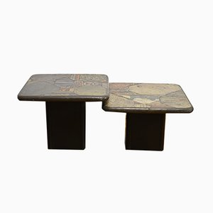 Stone Mosaic Coffee Tables from Kneip, 1980s, Set of 2