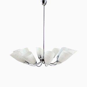 Lampada da soffitto a 10 braccia Mid-Century in metallo cromato, anni '60