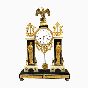 18th Century Directoire Bronze and Marble Clock