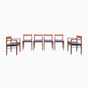 Mid-Century Scandinavian Teak and Black Leather Dining Chairs by H. W. Klein for Bramin, 1960s, Set of 6