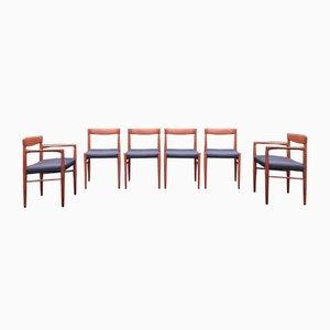 Skandinavische Mid-Century Esszimmerstühle aus Teak & schwarzem Leder von H.W. Klein für Bramin, 1960er, 6er Set