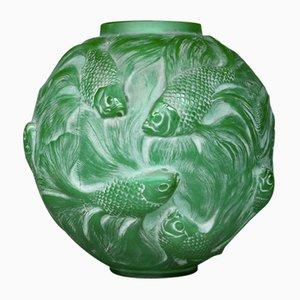 Grüne Glasvase von R. Lalique, 1920er