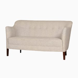 Small Mid-Century Danish Light Gray Woolen Sofa, 1940s