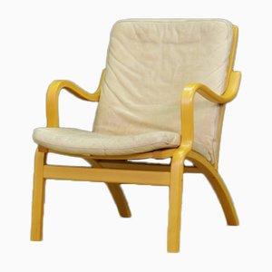 Dänischer Vintage Armlehnstuhl mit Sitzfläche aus Leder von Stouby