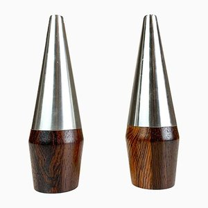 Danish Rosewood and Steel Salt and Pepper Shaker Set from A&B Lundtofte, 1960s