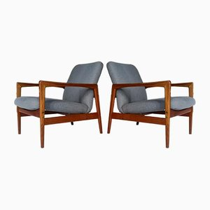 Swedish Teak Easy Chairs by Alf Svensson for Dux, 1960s, Set of 2