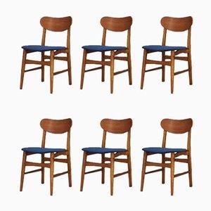 Dänische Vintage Esszimmerstühle aus Eiche, Teak & blauem Velours, 6er Set