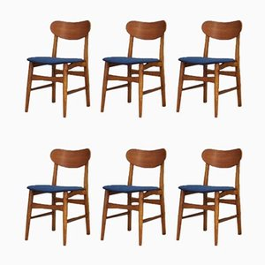 Vintage Danish Oak, Teak, and Blue Velour Dining Chairs, Set of 6