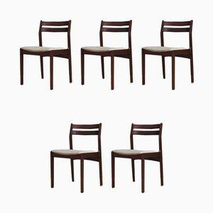 Dänische Mid-Century Esszimmerstühle, 5er Set