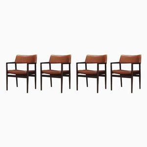 Vintage Esszimmerstühle aus Eiche & Leder von Erik Wørts für Sorø Stolefabrik, 4er Set