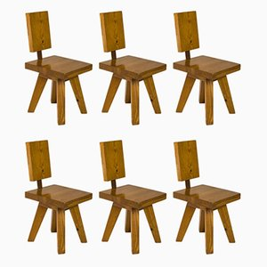 French Pine Dining Chairs, 1960s, Set of 6