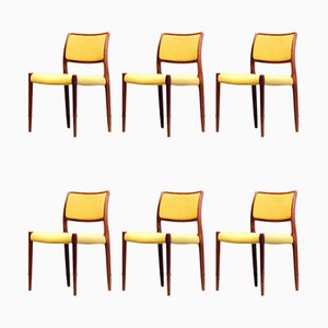 Rosewood Model JL 80 Dining Chairs by Niels Otto Møller for J.L. Møllers, 1960s, Set of 6