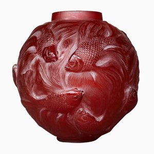Red Glass Vase from R. Lalique., 1920s