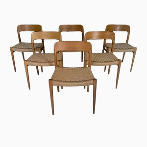 Model 75 Oak Dining Chairs by Niels Otto Møller for J.L. Møllers, 1960s, Set of 6
