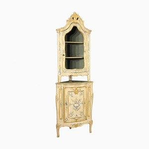 Mueble esquinero italiano Mid-Century lacado y dorado, años 50