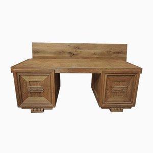 Vintage Schreibtisch aus Eiche & Kupfer von Charles Dudouyt, 1940er
