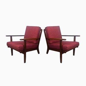 Danish Model GE-88 Teak Easy Chairs by Pedersen,Aage for Getama, 1960s, Set of 2