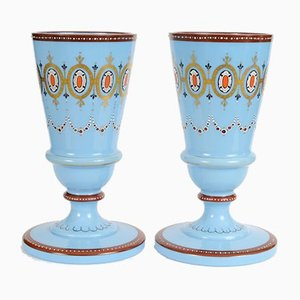 Vases Antiques en Verre Opalin Bleu de Portieux Vallerysthal, Set de 2