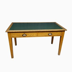 Vintage Solid Oak and Leather Military Desk, 1930s