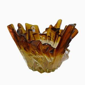 Scodella in vetro marrone di Pertti Santalahti per Humppila, anni '70