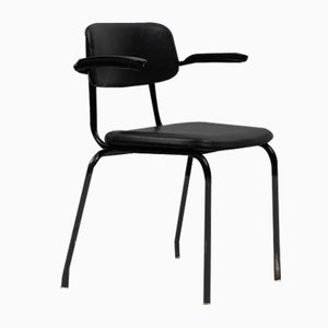 Mid-Century Black Leatherette Dining Chair from Ahrend De Cirkel