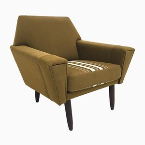 Mid-Century Danish Green Wool and Teak Lounge Chair, 1960s
