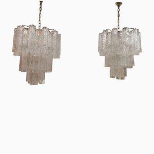 Lámparas de araña Mid-Century de Toni Zuccheri para Venini. Juego de 2