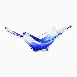 Blaue Glasschale von Crystalex Novy Bor, 1970er