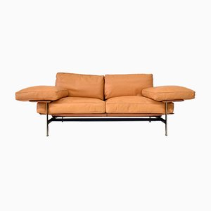 Italian Ochre Leather Sofa by Antonio Citterio, Paolo Nava for B&B Italia / C&B Italia, 1970s