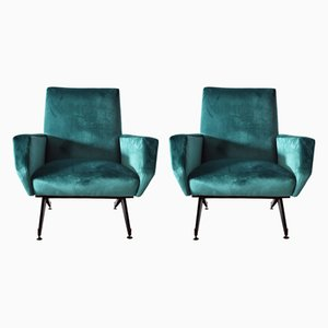 Mid-Century Italian Metal and Green Velvet Lounge Chairs, Set of 2