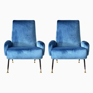 Mid-Century Italian Steel, Brass, and Blue Velvet Lounge Chairs, 1950s, Set of 2
