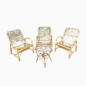 Vintage Gartenstühle & Tisch Set aus Bambus & Rattan, 1970er
