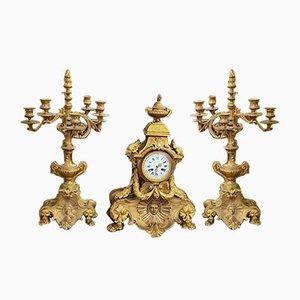 Antikes Napoleon III Uhr & Kerzenständer Set aus goldener Bronze, 1800er