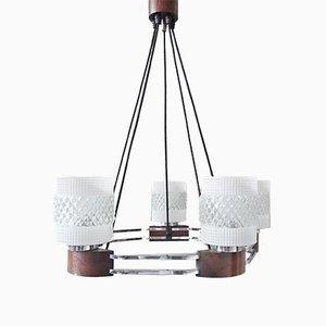 Lampadario Mid-Century in metallo cromato, legno e vetro