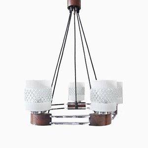 Mid-Century Chrome, Wood, and Glass Chandelier