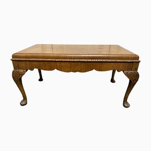 Vintage Queen Anne Style Burl Walnut Coffee Table, 1920s