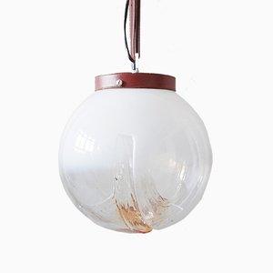 Lámpara de techo italiana de cristal de Murano, cuero y cromo de Mazzega, años 70