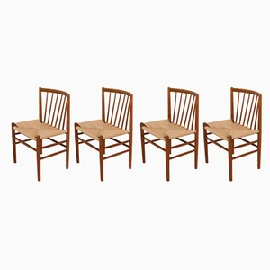 Vintage Model J80 Dining Chairs by Jørgen Bækmark for FDB Møbler, 1950s, Set of 4