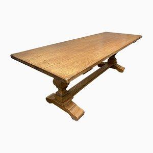 Mesa de comedor francesa antigua de roble macizo