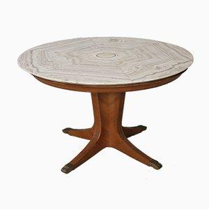 Mesa de comedor Mid-Century redonda de ónice y madera de Paolo Buffa, años 50